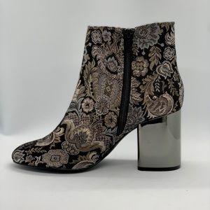 NWOT ALDO tapestry boots, reflective metallic heel